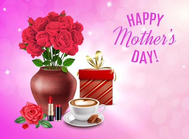 Composizione in festa della mamma con il mazzo dei cosmetici del regalo dei fiori e l'illustrazione felice del titolo di festa della mamma