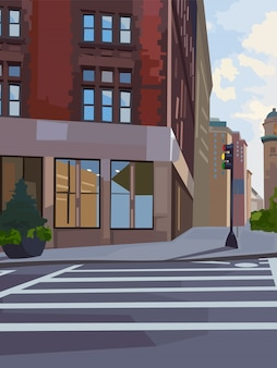 Composizione in incrocio di città con semaforo e attraversamento pedonale