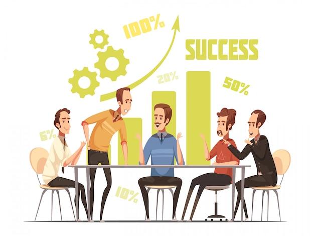 Composizione in riunione d'affari con l'illustrazione di vettore del fumetto di simboli di idee e di successo