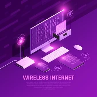 Composizione incandescente isometrica in internet wireless con router pc e dispositivi mobili su viola