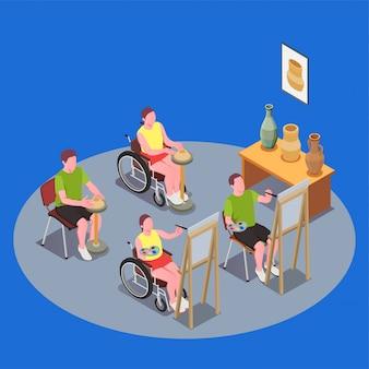 Composizione inclusiva in istruzione con persone in sedia a rotelle con lezione d'arte 3d