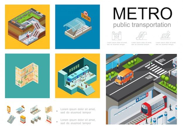 Composizione infographic della metropolitana isometrica con il bordo di informazioni della scala mobile dei cancelli girevoli della cabina dei biglietti della mappa di navigazione del treno di passeggeri della piattaforma della metropolitana della stazione della metropolitana