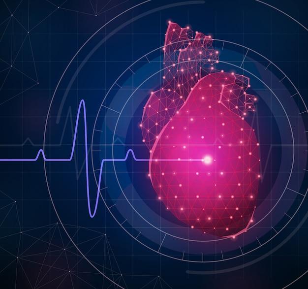Composizione innovativa nella medicina con l'illustrazione realistica di simboli poligonali del cuore e del wireframe