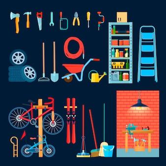 Composizione interna della casa del deposito del garage domestico con differenti strumenti e attrezzature manuali