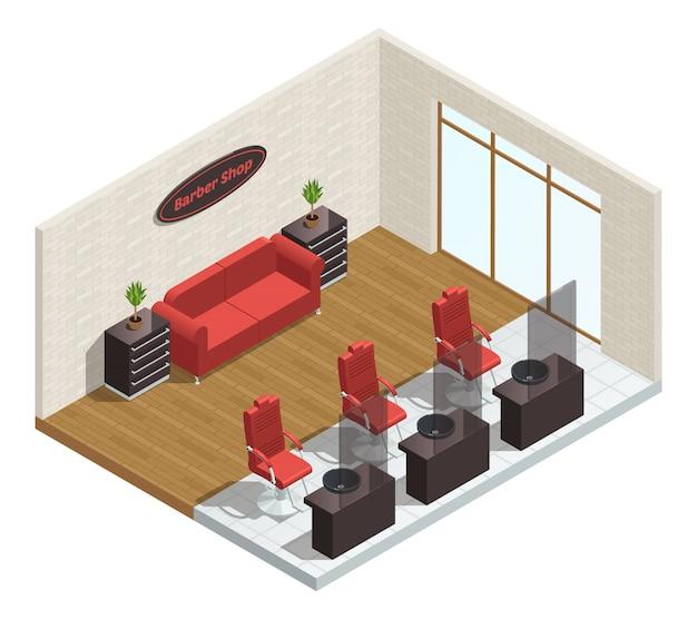 Composizione interna isometrica del salone del barbiere