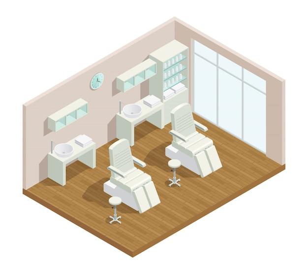 Composizione interna isometrica del salone di bellezza di cosmetologia