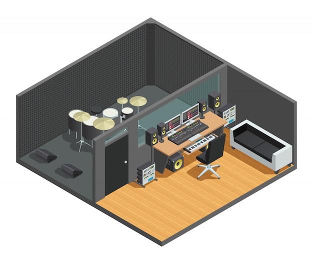 Composizione interna isometrica di studio musicale con cassa acustica del kit di batteria e sala di controllo con miscelatore
