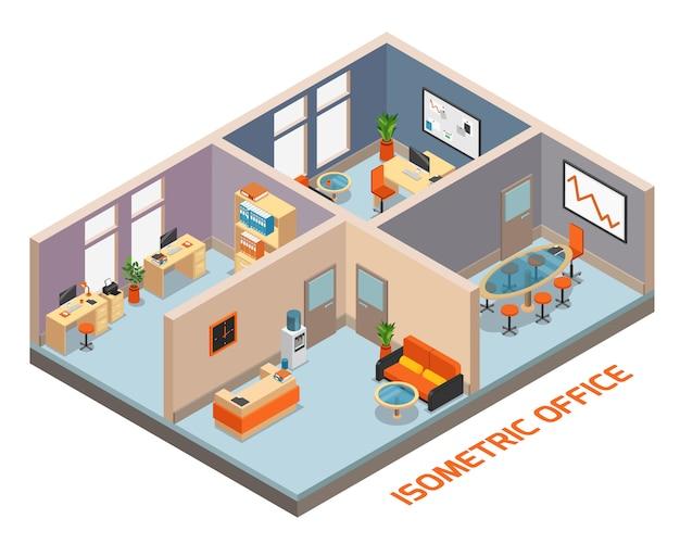 Composizione interna nell'ufficio isometrico con l'illustrazione di vettore della sala riunioni di riposo e di attesa del posto di lavoro di quattro stanze