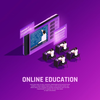 Composizione isometrica bagliore di formazione online con aula futuristica concettuale con studenti e insegnante sullo schermo