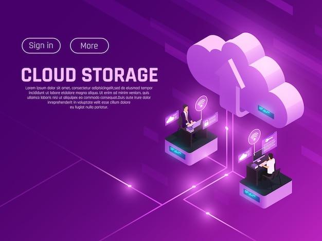 Composizione isometrica bagliore ufficio nuvola con pittogramma nuvola pulsanti di testo modificabili modificabili e due aree di lavoro moderne