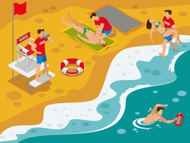 Composizione isometrica bagnini in spiaggia con squadra di soccorso professionale che lavora con i turisti catturati in situazioni pericolose