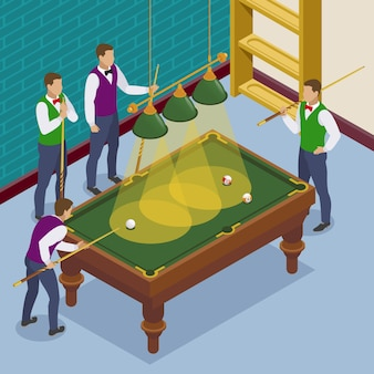 Composizione isometrica biliardo con vista della situazione di gioco con sala da gioco e personaggi umani dei giocatori