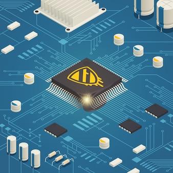 Composizione isometrica bug hardware