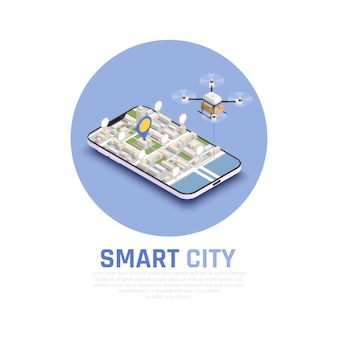 Composizione isometrica colorata nella città astuta con la mappa 3d e fuco astratto nell'illustrazione di vettore del telefono