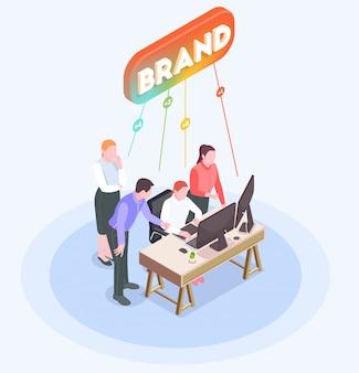 Composizione isometrica con gli impiegati dell'agenzia di pubblicità che confrontano le idee in ufficio 3d