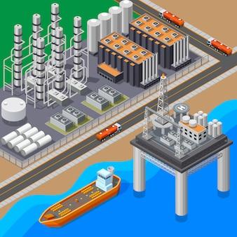 Composizione isometrica con la petroliera della raffineria di petrolio e l'illustrazione di vettore della piattaforma 3d del mare