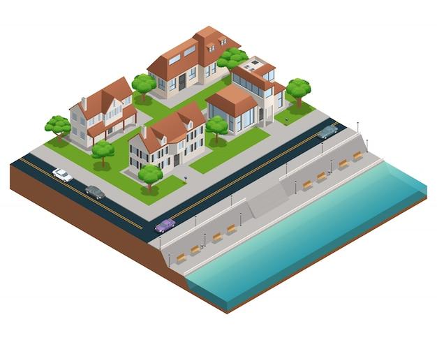 Composizione isometrica con le case suburbane vicino all'imbarco sull'illustrazione bianca di vettore del fondo