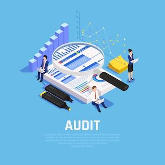 Composizione isometrica contabile con documentazione grafici e caratteri umani durante l'audit su blu