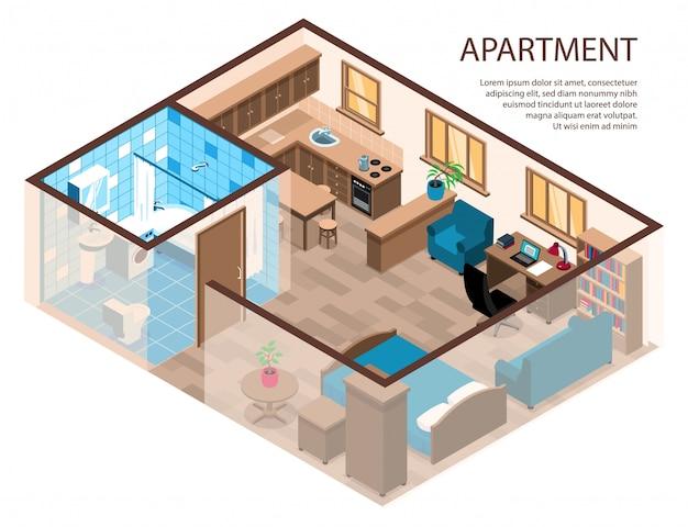 Composizione isometrica dal design efficiente con una camera da letto con angolo studio, angolo cucina, bagno, cucina