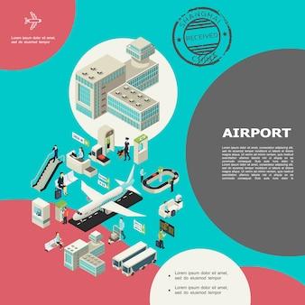Composizione isometrica degli elementi dell'aeroporto con scala mobile da costruzione passeggeri bagagli nastro trasportatore autobus aeroplani banco check-in controllo personalizzato sala d'attesa timbro visto