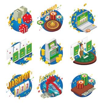 Composizione isometrica del casinò con la macchina dei soldi del blackjack come gioco in linea di jackpot della roulette del raccoglitore dei dadi della macchina dei chip vincente isolato