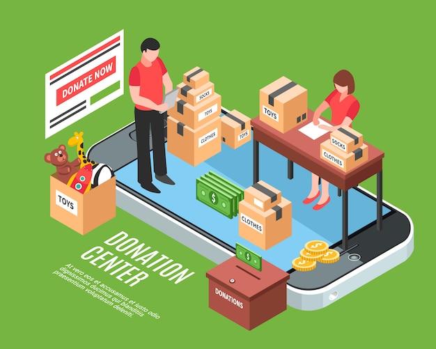 Composizione isometrica del centro donazioni con impiegati che selezionano scatole di cartone di regali di beneficenza per bambini bisognosi