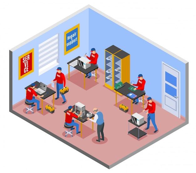 Composizione isometrica del centro servizi con vista interna dell'officina riparazioni interna con personaggi di persone che lavorano