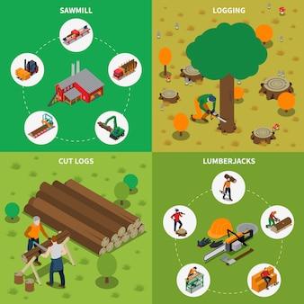 Composizione isometrica del legname del mulino del legname della segheria