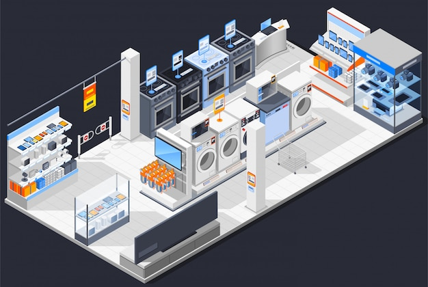Composizione isometrica del negozio elettrico