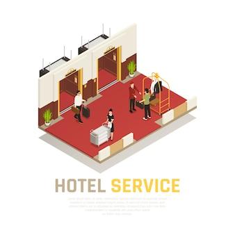 Composizione isometrica del servizio alberghiero con facchino e turisti in zona ascensore con pavimento rosso