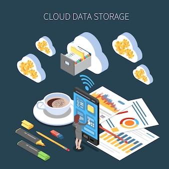 Composizione isometrica del servizio di archiviazione cloud con salvataggio delle informazioni di lavoro su oscurità