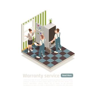 Composizione isometrica del servizio di garanzia con il personale tecnico chiamato a casa per diagnosticare un elettrodomestico non funzionante