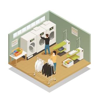 Composizione isometrica dell'attrezzatura di lavanderia