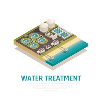 Composizione isometrica dell'impianto di trattamento delle acque avanzato con bacini di sedimentazione filtrazione separazione ossidazione impianti di depurazione delle acque reflue