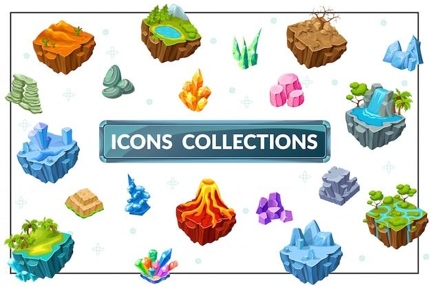 Composizione isometrica della natura del gioco con i minerali tropicali delle pietre della cascata del vulcano delle montagne del lago dell'albero delle isole del paesaggio tropicale desertico della foresta di ghiaccio