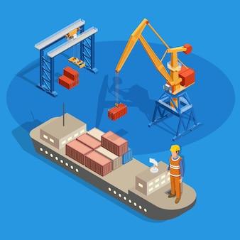 Composizione isometrica della nave da carico