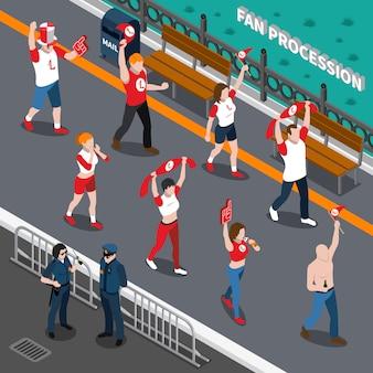 Composizione isometrica della processione di ventilatori sportivi