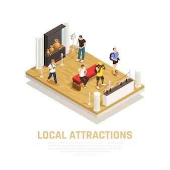 Composizione isometrica delle attrazioni locali con persone durante la visita del museo nel tempo di viaggio