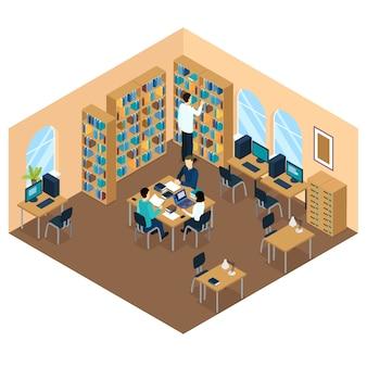 Composizione isometrica dello studente nella biblioteca di istruzione
