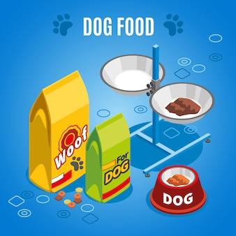 Composizione isometrica di cibo per cani