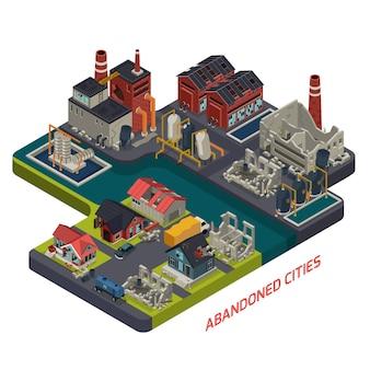Composizione isometrica di città abbandonate