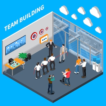 Composizione isometrica di coaching per dirigenti aziendali con team di fiducia che costruiscono esercitazioni pratiche nella formazione sul posto di lavoro