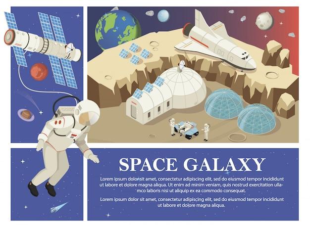 Composizione isometrica di colonizzazione su marte con astronauti satellite stazione cosmica rover shuttle pannelli solari pianeta terra