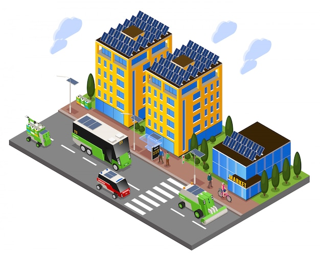 Composizione isometrica di ecologia urbana intelligente con vista sulla strada di edifici ad energia solare e trasporto elettrico