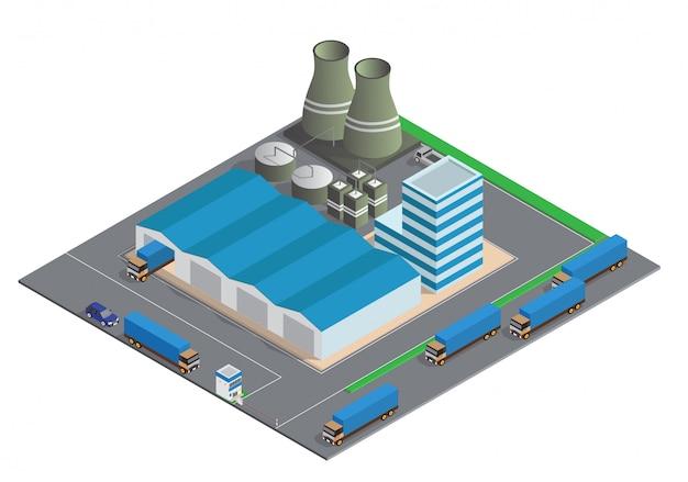 Composizione isometrica di edifici industriali