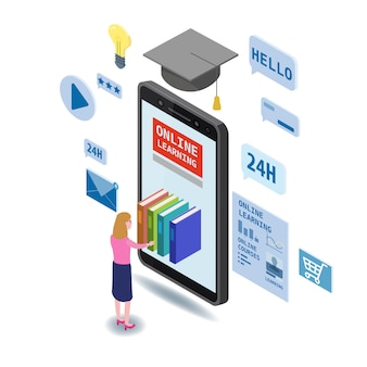 Composizione isometrica di educazione online con piccole donne che prendono libri dalla biblioteca elettronica per smartphone corsi di formazione online, studi universitari e biblioteca digitale online