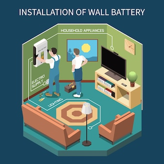 Composizione isometrica di elettricità con vista interna della stanza con due lavoratori che installano l'alimentazione elettrica a parete