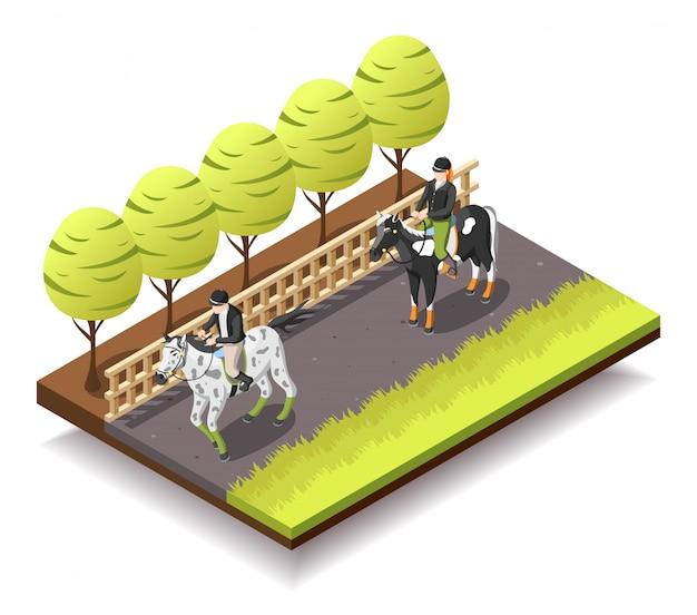 Composizione isometrica di equitazione
