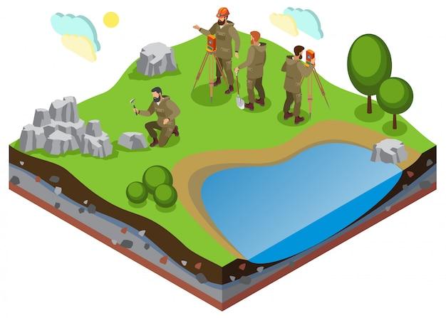 Composizione isometrica di esplorazione della terra con prospezione di lavori su terreno con formazioni rocciose e di stagno