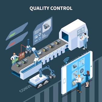 Composizione isometrica di fabbricazione intelligente dell'industria intelligente con testo e catena di montaggio automatica gestita a distanza da tablet